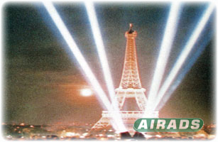 Four Head Searchlight with Eifel Tower Image