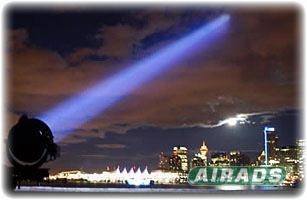 Carbon Arc Searchlight with City Backdrop Image